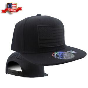 Details about Mens Snapback Hat Black Adjustable USA American Flag Flat  Bill Ball Baseball Cap