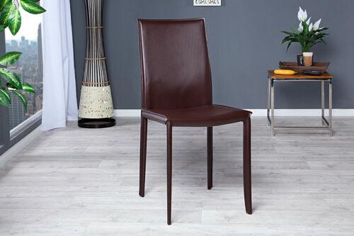 Stuhl Esszimmerstuhl coffee Metall Echtleder Design Lehnstuhl mit Ziernaht