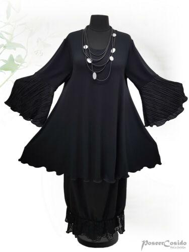 grau L-XL-XXL-XXXL PoCo DeSiGn LAGENLOOK Kurz-Kleid Tunika Long-Shirt schwarz