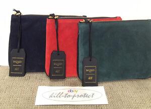 91f7b69f9c8 BALMAIN x H&M SUEDE LEATHER CLUTCH RED BLUE GREEN BAG Jacket Rare ...