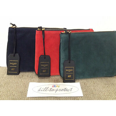 BALMAIN x H&M SUEDE LEATHER CLUTCH RED BLUE GREEN BAG Jacket Rare Beaded 2015