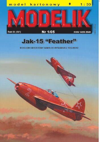 Jakowlew Jak-15 Feather    1:33   mit Lasercutteilen Modelik 01//05