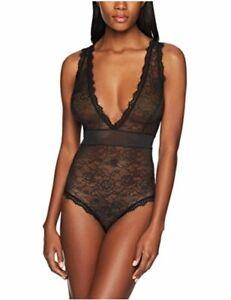 Brand - Mae Women's Eyelash Lace Bodysuit, Black,, Black, Size X-Large
