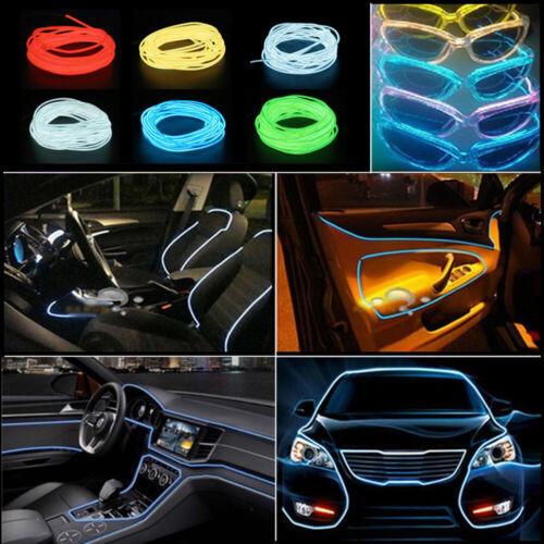 1-5m LED Light Glow EL Wire Car Interior Atmosphere Neon String Strip Rope Tube