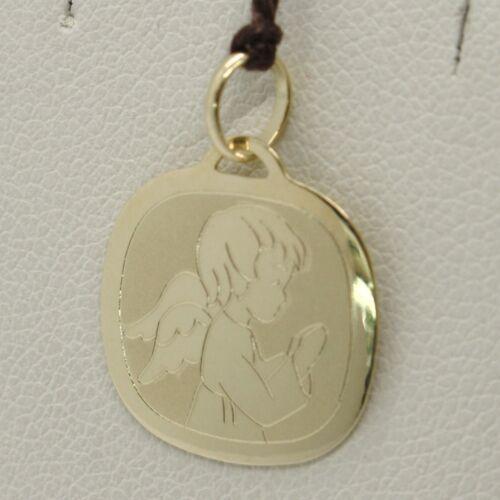 18K Pendentif en or jaune carré Médaille Ange Gardien 15 mm sertis Italy Made