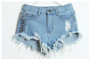 Women-039-s-Ripped-Studded-Denim-Shorts-Size-8-10