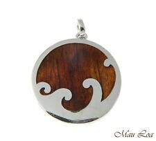 Koa Wood Hawaiian Scroll Ocean Surf Wave Circle Rhodium Brass Reversible Pendant