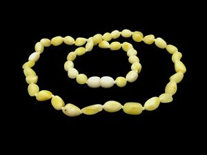AMBER-NECKLACE-Natural-BALTIC-AMBER-Beans-Beads-Yellow-White-Butter-Ladies-12581