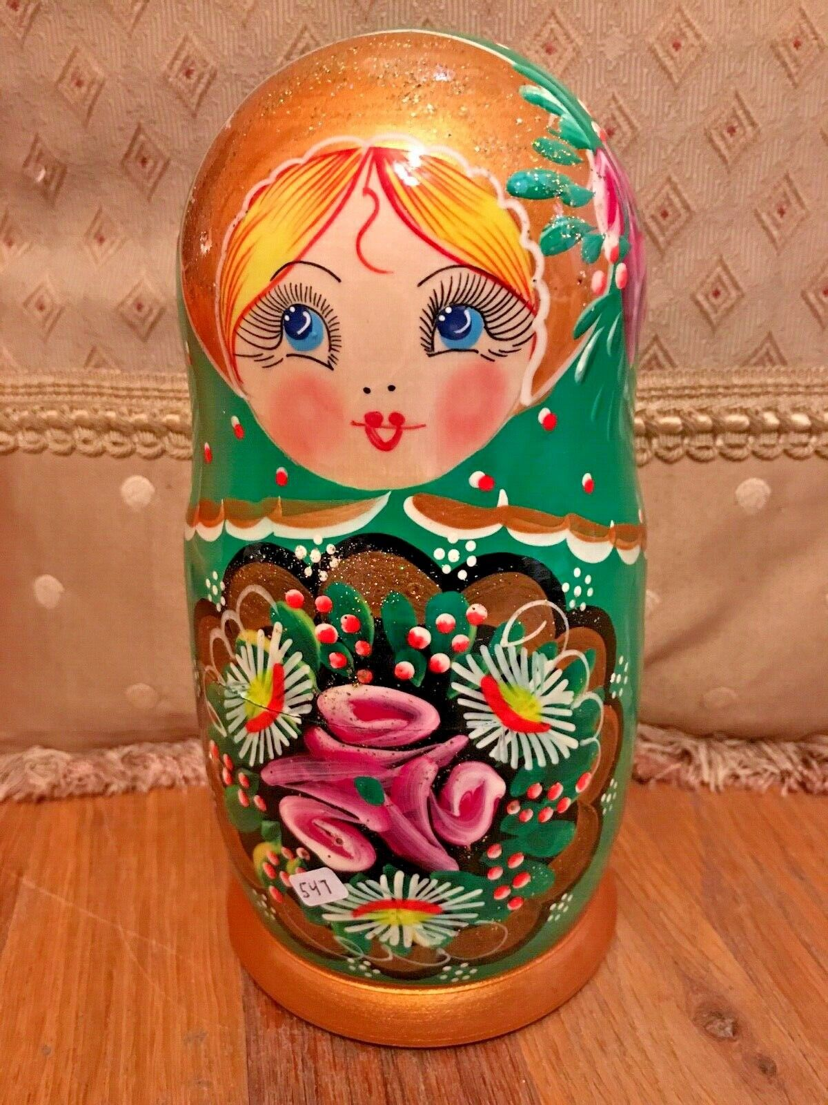 Russian Nesting bambola - 7 bambolas he painted  - verde Flower Girl  100% autentico