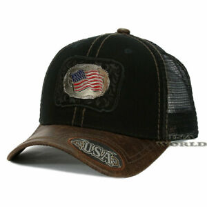 USA-American-Flag-hat-Metallic-Flag-patched-Mesh-Snapback-Baseball-cap-Black