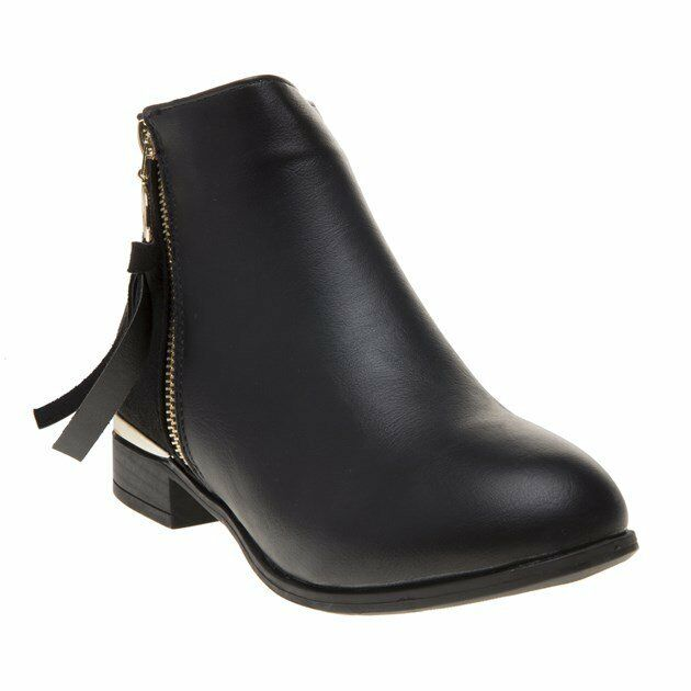 New Womens SOLESISTER Black Evie Pu Boots Ankle Zip