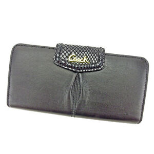Coach-Wallet-Purse-Long-Wallet-Black-Gold-Woman-unisex-Authentic-Used-T3986