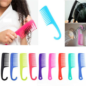 Hairdressing-Salon-Plastic-anti-static-Handle-Wide-Tooth-Hair-Comb-Detangling