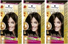 Schwarzkopf Country Colours 70 Brazil Nut Dark Brown Semi-Permanent Hair Dye X3