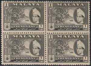 MALAYSIA-MALAYA-1957-TRENGGANU-1c-BLACK-B-4-MNH