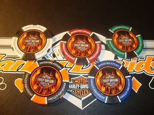 5-Harley-Davidson-Motor-Cycles-FLAMES-1-500-Poker-Chips-Golf-Ball-Markers