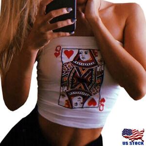US-Women-Summer-Poker-Strapless-Bustier-Crop-Tops-Vest-Tube-Tank-Tops-T-Shirt