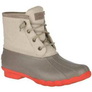 7dde4802fab NIB Sperry Top-Sider Saltwater Duck Boots Dark Taupe Coral Women s ...