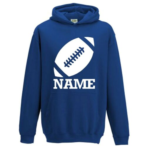 NEW Personalised Boys Girls Kids Rugby Football Hoodie With Name Custom Print