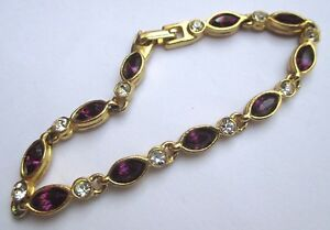 Sur De Soi Bracelet Couleur Or Bijou Vintage Cristal Améthyste Et Solitaire Diamant 2937