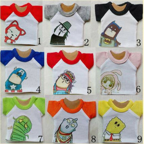 Lovely 9 Cute Cartoon Character T-shirt/Top 1/4 1/6 1/8 YOSD BJD Doll Clothes