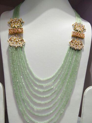 Les femmes Eid Gift long Kundan Collier Thé Vert String Bollywood Indien Set fX540
