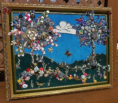 Jewelry Art Collage of 2 Trees of Life, in Estate Frame, signed by Artist