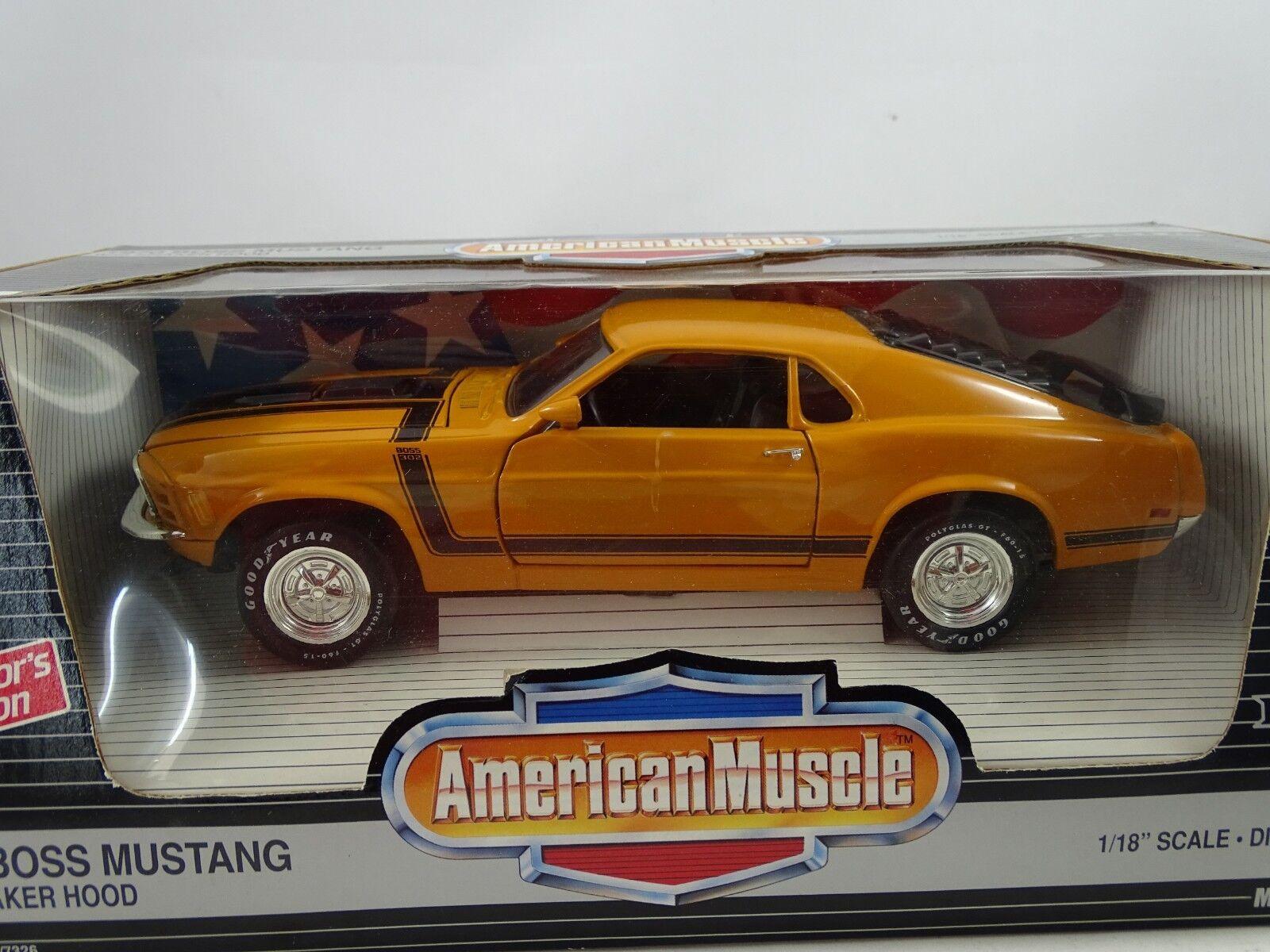 1 18 Ertl  7326 - 1970 Boss Mustang with Shaker Hood Orange-RARE §