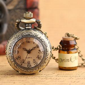 Cute Drink Me Bottle Dark Brown Glass Copper Quartz Pocket Watch Necklace Gift