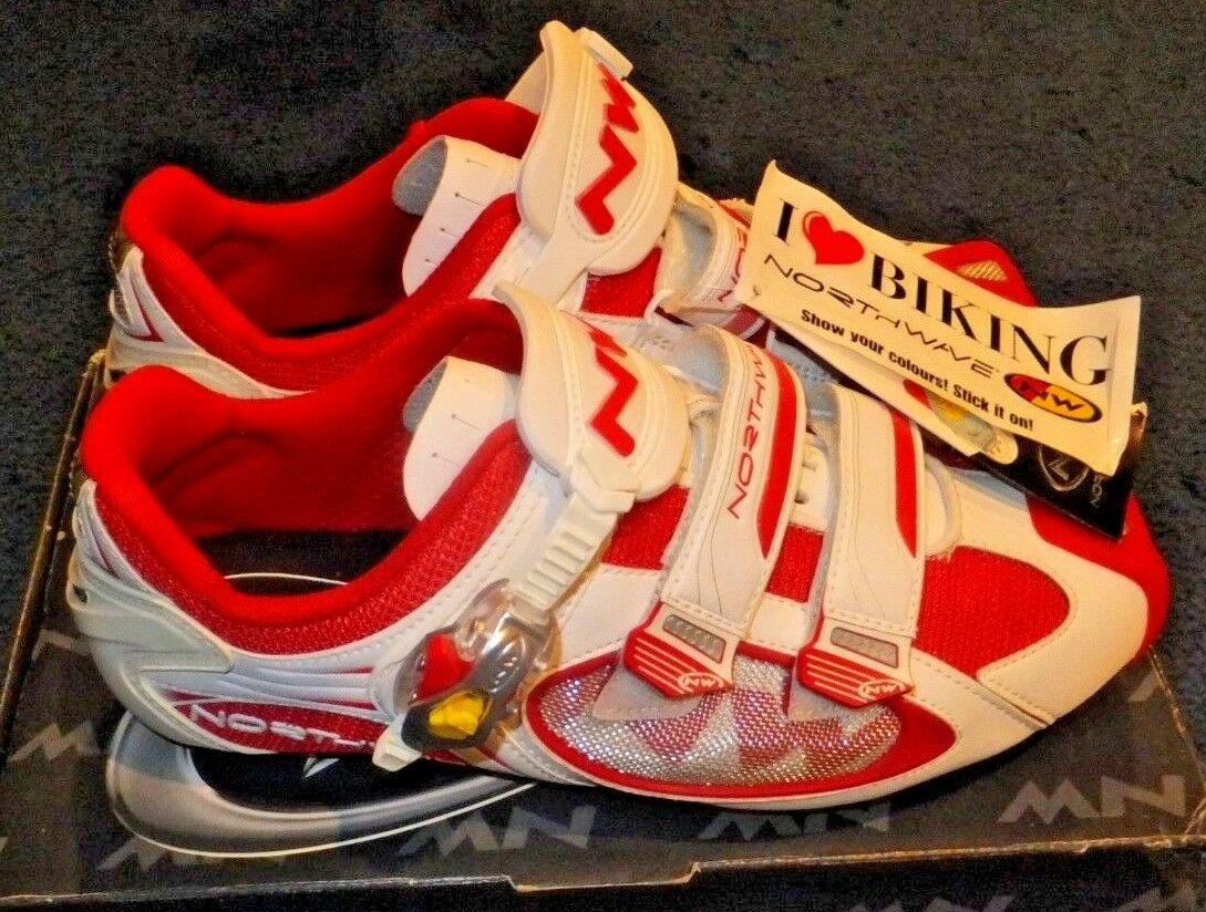 NEW NORTHWAVE AERLITE S.B.S. ROAD CARBON CYCLING SHOES 12.5 US 45.5 RED   WHITE