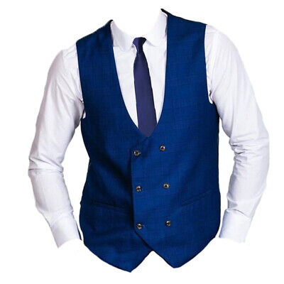 Blue Mens Marc Darcy Vintage Check Double Breasted Waistcoat Hilton