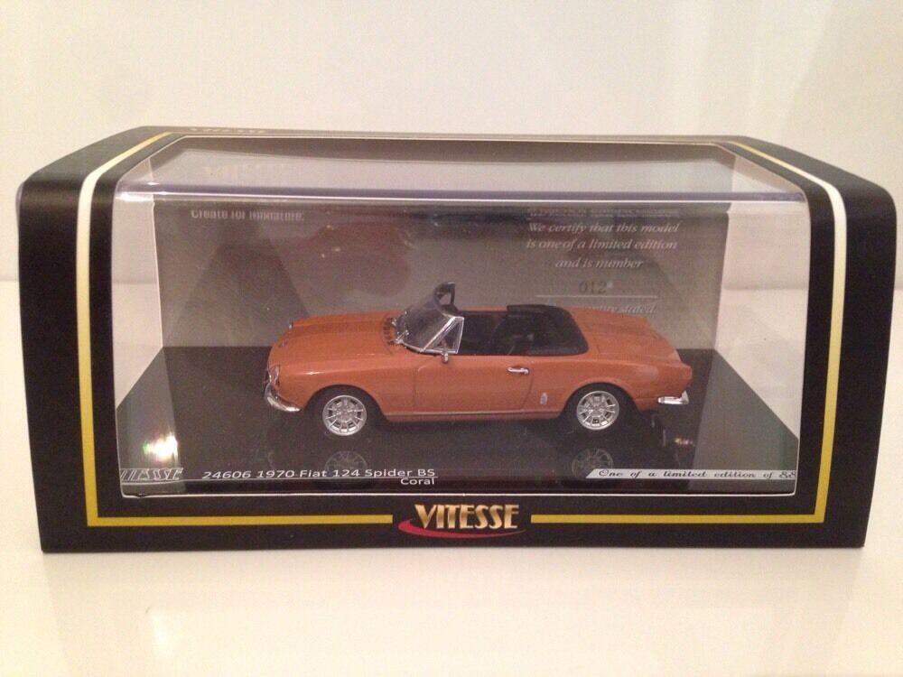 1970 Fiat 124 Araña BS Coral 1 43 Escala Vitesse 24606 Nuevo Número 36 de 889