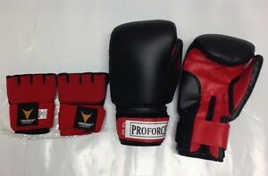 ProForce 16oz Black Leatherette Boxing Gloves w/ Thunder Neoprene Gel Wraps L/XL