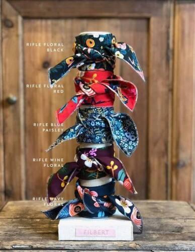 Filbert x Rifle Paper Co Black Floral Print Neckerchief Scarf Bag Tie Fabric