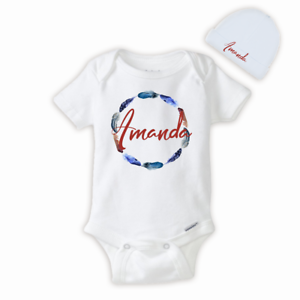 875246cc5 Image is loading Personalized-Name-Feather-Baby-Girl-Onesies-Hat-Baby-