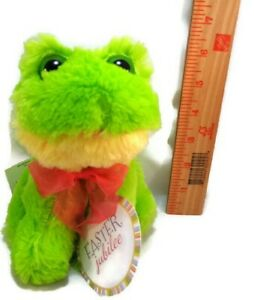 Easter-Big-Eyes-Green-Frog-Red-Ribbon-Plush-Stuffed-Easter-Dan-Dee-Soft-6-034-NEW