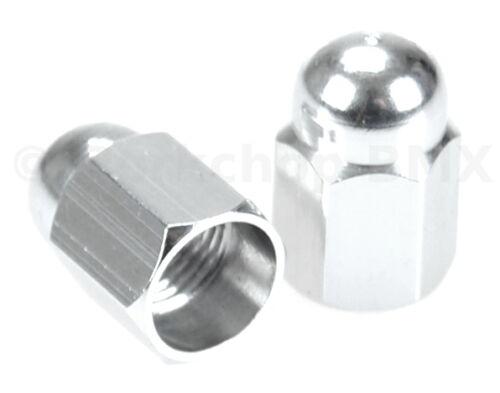 Aluminum alloy BMX bicycle acorn Schrader valve caps SILVER ANODIZED