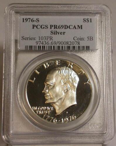 1976-S $1 40 /%  SILVER PROOF  DOLLAR BICENTENNIAL 1776-1976 PCGS PR69DCAM