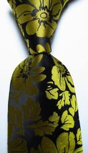 New-Classic-Floral-Black-Gold-JACQUARD-WOVEN-100-Silk-Men-039-s-Tie-Necktie