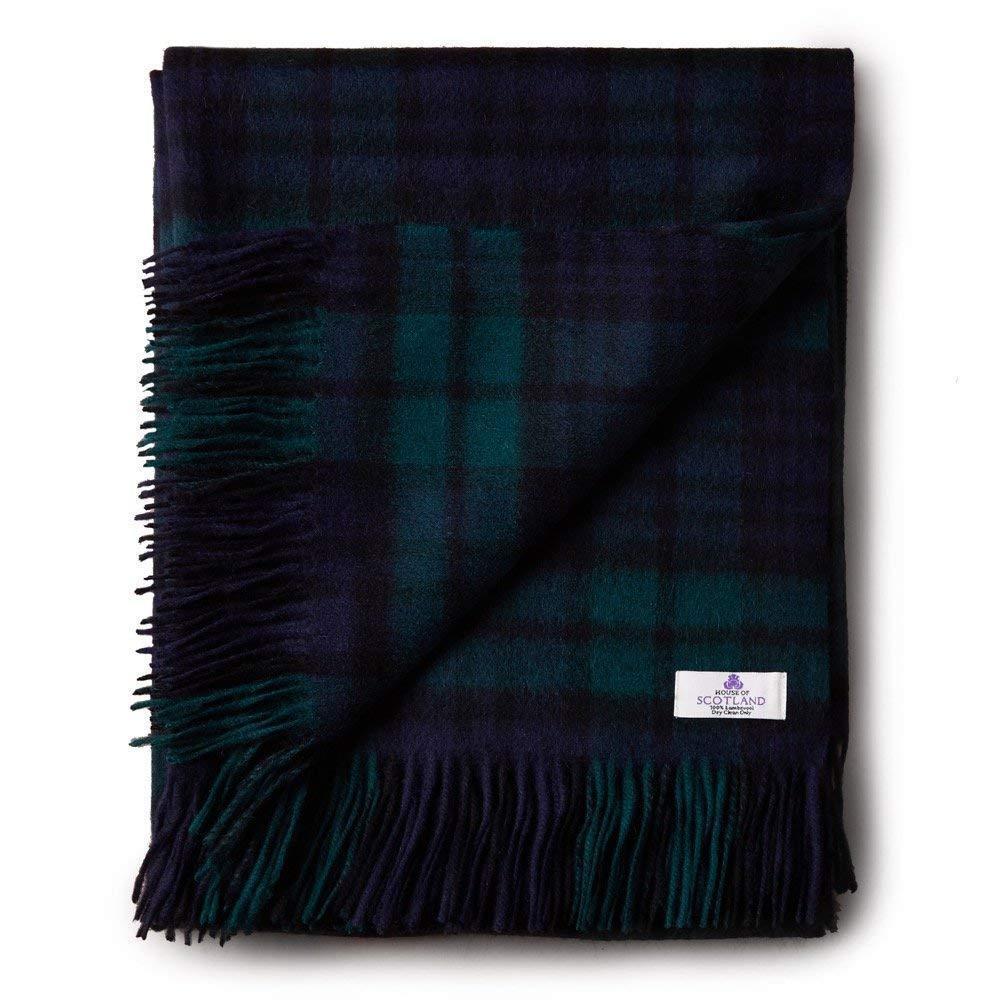 House of Scotland 100% Lana De Cordero Escocés Tartán Manta Cobertor-Negro Reloj