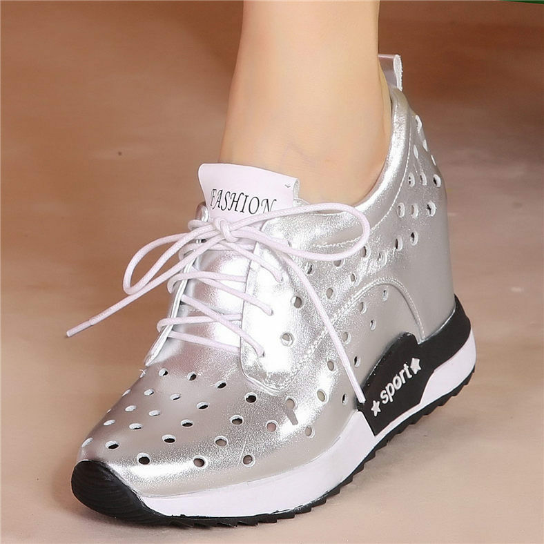 Women's Genuine Leather Fashion Fashion Fashion Sneakers Lace Up Wedge High Heel Sport Sandals 6d2a20