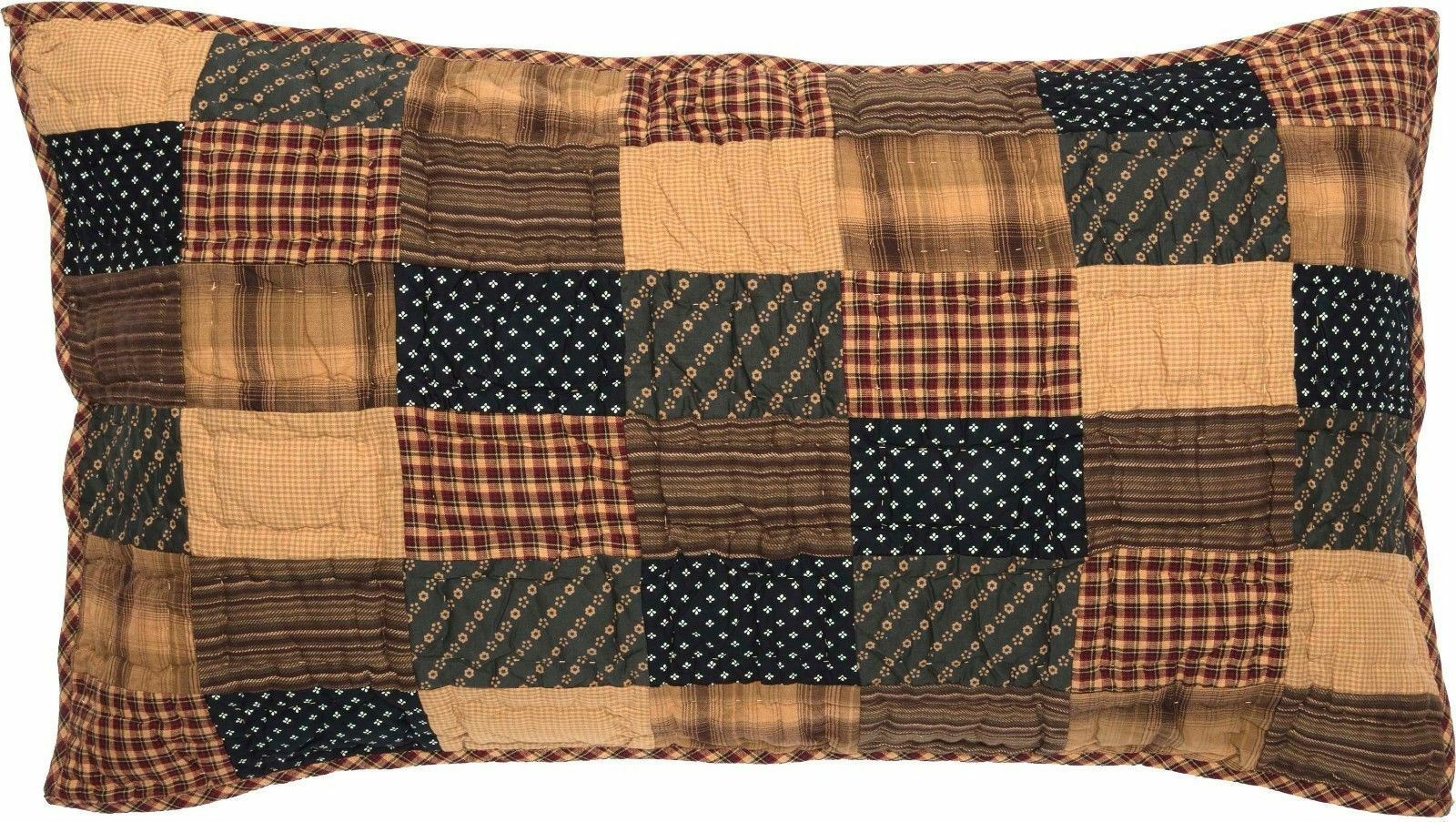 Rustic Country Hand-Quilted King Pillow Sham Red Patchwork Patriotic Patch