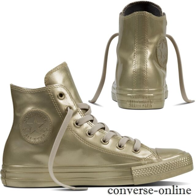 3718638e0c6 Women s CONVERSE All Star GOLD METALLIC RUBBER HIGH TOP Trainers Boots SIZE  ...