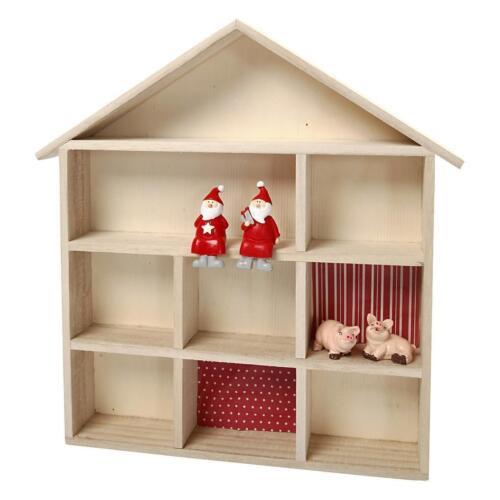 SETZKASTEN in Haus-Form Holzbox SCHACHTEL Box ROH SORTIERBOX 9 Fächer 56409