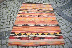 Vintage Turkish Kilim 4'1 x 6'1 ft. Anatolian Distressed Kilim Nomadic Kilim Rug