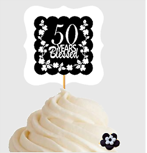 Image Is Loading 50th Birthday Anniversary Blessed Cupcake Decoration Toppers Picks