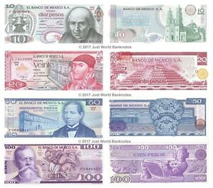 Mexico-10-20-50-100-Pesos-Set-of-4-Banknotes-UNC