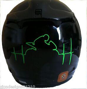 Motorcycle Racer HEART BEAT RATE Fluorescent Green Sticker Decal - Motorcycle helmet decals graphics
