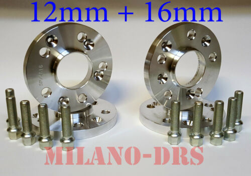 KIT 4 DISTANZIALI RUOTA 12+16mm AUDI A5 DAL 2007/> BULLONI X CERCHI NON ORIG.
