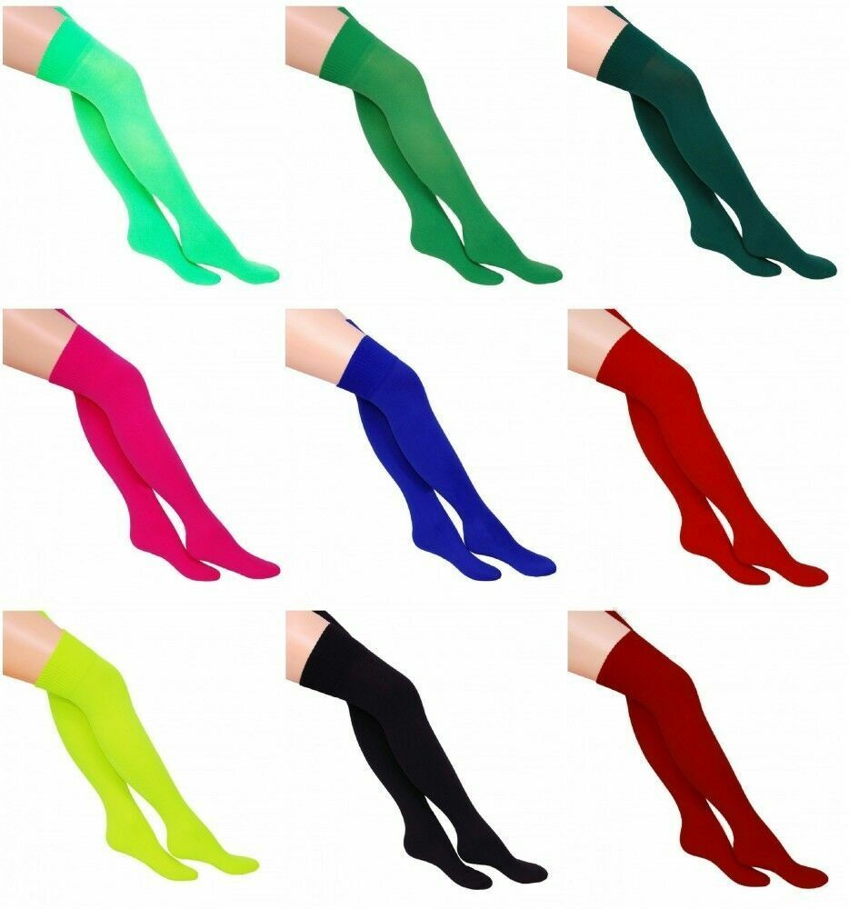 Women's Plain Over the Knee Socks Stretch Thigh High Fancy Dress Costume UK 4-6.